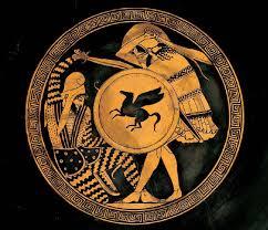 Αναπαράσταση Αθηναίου οπλίτη να επιτίθεται στον Πέρση αντίπαλό του